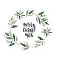 merry christmas wreath winter season postcard vector image