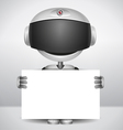 robot holding white paper vector image vector image