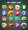 Round Bright Icons with Long Shadow - Halloween vector image vector image