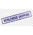 scratched worldwide shipping rectangle stamp vector image vector image