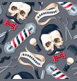 seamless pattern with barber shop supplies vector image