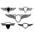 set of retro emblems with wings design element vector image