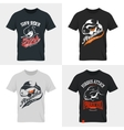 Shabby dangerous fish t-shirt emblem vector image