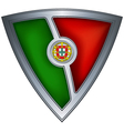 steel shield with flag portugal vector image vector image