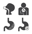 stomach pain and esophageal cancer icons set vector image