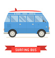Surfing Tourist Summer Bus Icon vector image vector image
