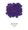 Wedding invitation with purple flowers vector image vector image