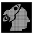 white halftone space rocket thinking head icon vector image vector image