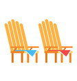 wooden picnic chairs icon flat isolated vector image vector image
