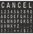 alphabet set mechanical timetable letters vector image