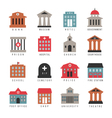 government building colored icons Municipal city vector image