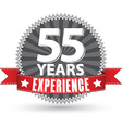 55 years experience retro label with red ribbon vector image vector image