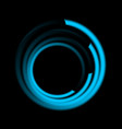 Abstract blue swirl circle logo on black vector image