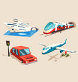 airplane and train car or automobile and train vector image vector image