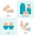 allergic food icon set in flat style vector image