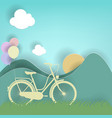 bicycle balloon sun and meadow on cloud vector image vector image
