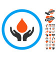 blood donation hands icon with valentine bonus vector image vector image