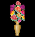 bouquet of roses in vivid colors golden vase on vector image vector image