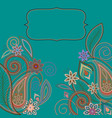 card design - paisley and flowers pattern vector image
