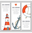 Cards templates with nautical elements vector image