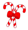 christmas candy cane with bow new year icon vector image vector image