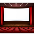 Cinema with white screen curtain and seats vector image vector image