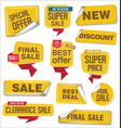 collection of yellow sale stickers and tags vector image