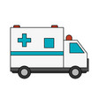 color image cartoon ambulance truck with cross vector image vector image
