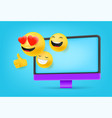 computer with different emoji i like it concept vector image