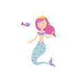 cute mermaid with pink hair color and gold crown vector image vector image