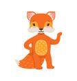 cute orange fox character standing funny cartoon vector image