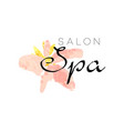 delicate logo design for spa with abstract pink vector image vector image