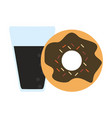 donut and soda cup vector image vector image