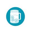 drinks glass mug juice with slices lemonblue block vector image