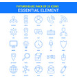 essential element icons - futuro blue 25 icon pack vector image vector image