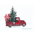 festive new year 2018 card red truck with fir vector image