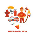 firefighting and fire protection poster of vector image vector image