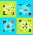 flat gardening icons infographic vector image vector image