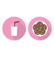 flat set - glass of milk and cookies vector image