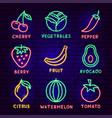 fruit vegetable neon label set vector image vector image