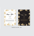 golden invitation with floral elements vector image vector image