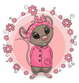 greeting card cute cartoon rat with flowers vector image vector image