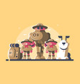 group of scouts with rucksack vector image vector image