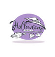 happy halloween linear greeting card vector image