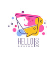 hello logo logo design colorful emblem with hello vector image vector image