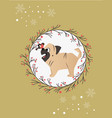 holiday greeting card with funny pug and bird vector image
