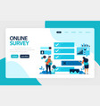 landing page online survey exams choices flat vector image vector image