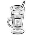 latte drink in glass with tube coffee milk sketch vector image vector image