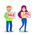 man and woman with banners sale vector image vector image