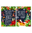 merry christmas winter holidays greeting banner vector image vector image